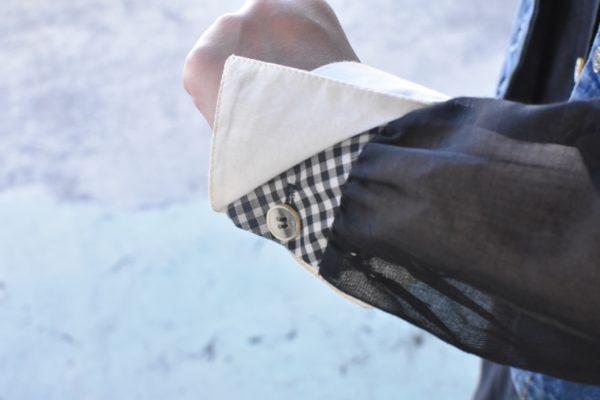 袖の隠れギンガムチェック